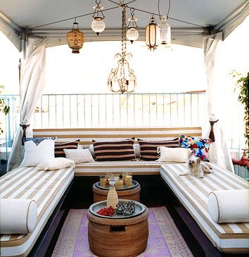 Love the lighting, fabric and configuration for an outdoor deck or patio living area