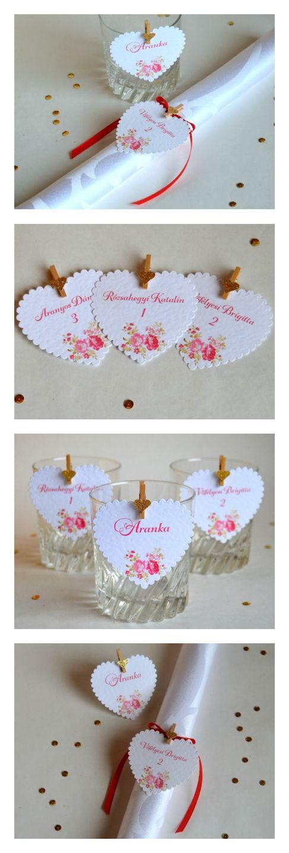 Esküvői névtábla vintage ültetőkártya egyedi esküvő meghívó képeslap évforduló szív. Wedding seating table card heart vintage personalised.