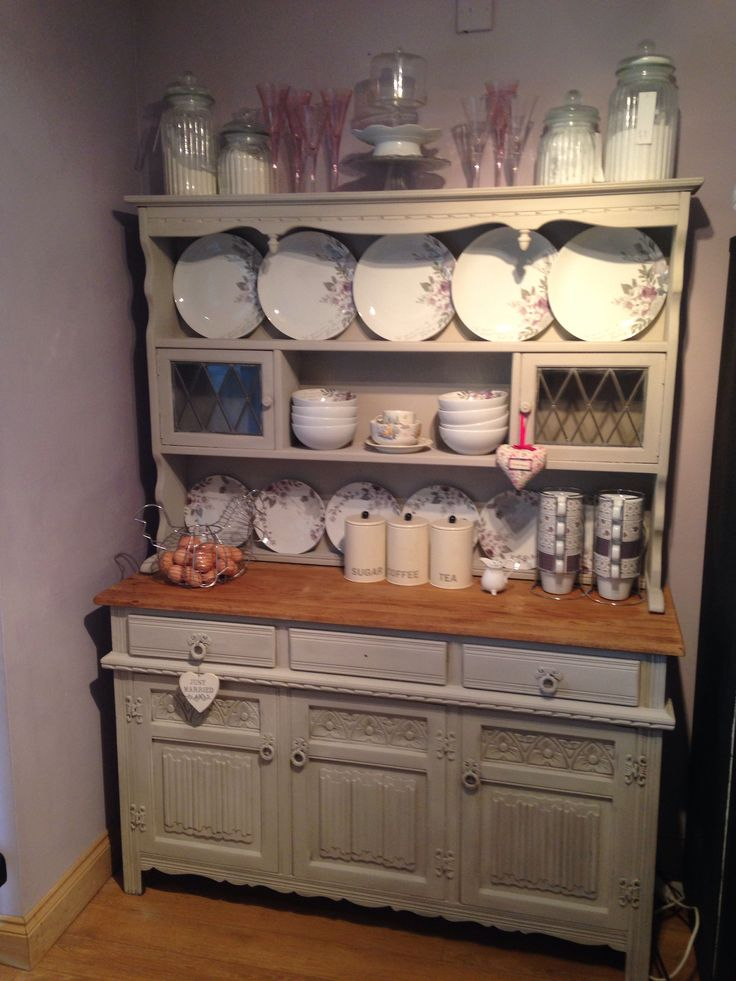 Annie sloan French linen and old white painted dresser. Beautiful romantic plates from next