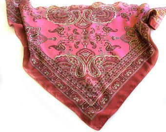 Pink Paisley scarf, Coworker gift, Black Paisley scarf, Birthday gift for Sister in Law, Headscarves for Cancer chemo therapy, Gift under 10 by blingscarves. Explore more products on http://blingscarves.etsy.com