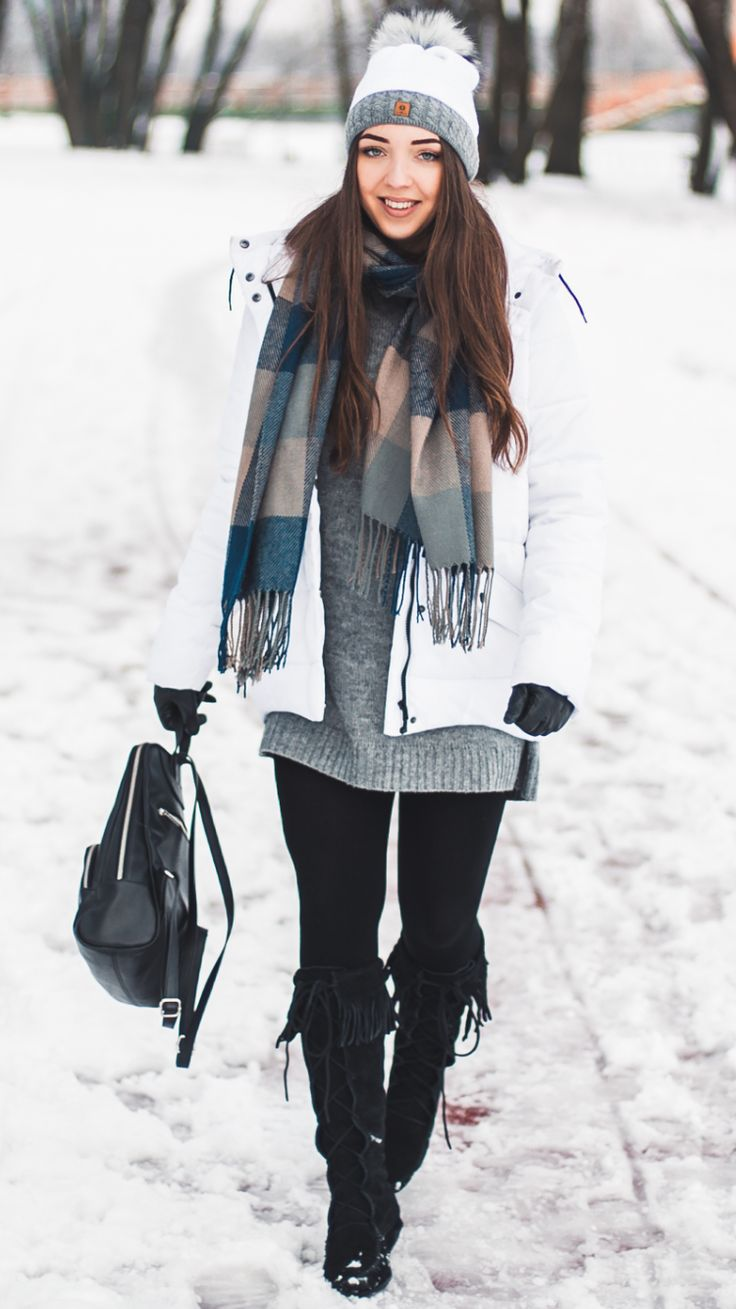White down jacket -  As first seen on blog Kolorowa Dusza: White down jacket  She is wearing tights similar here: Black Opaque Tights Black opaque tights provide comfortable stimulating compression.  #tights #pantyhose #hosiery #nylons #tightslover #pantyhoselover #nylonlover #legs