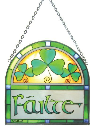 This Stained Glass window hanging depicts the Irish greeting 'Failte' meaning 'Welcome'. Gift Boxed Hook is provided for hanging
