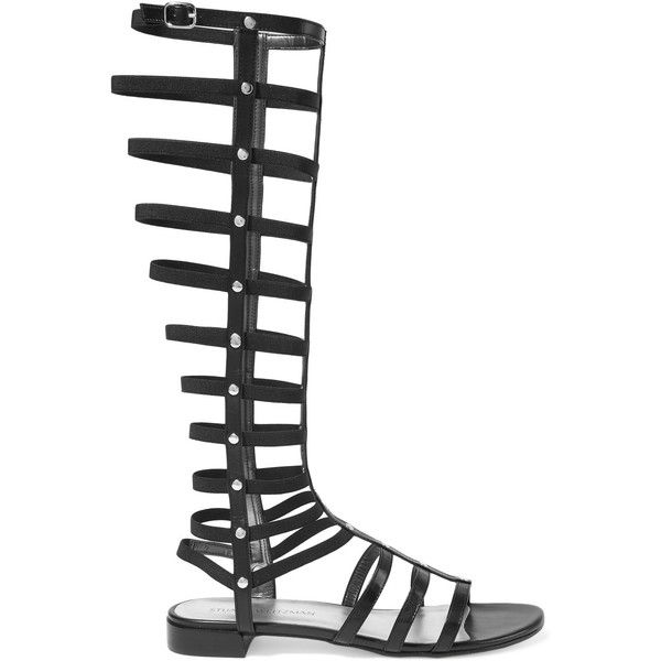 Stuart Weitzman Gladiator studded leather sandals ($480) ❤ liked on Polyvore featuring shoes, sandals, black, leather flats, black sandals, roman sandals, greek sandals and roman gladiator sandals