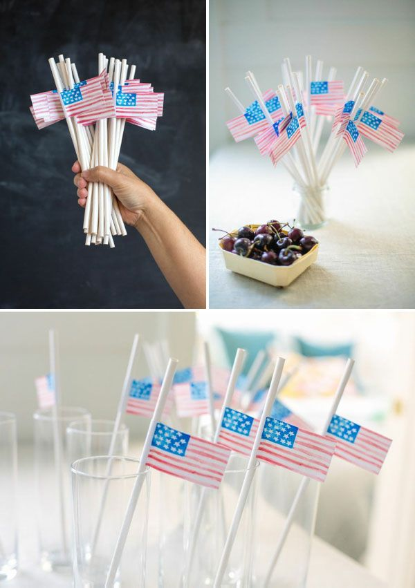 Watercolor Straw Flags DIY | Oh Happy Day!