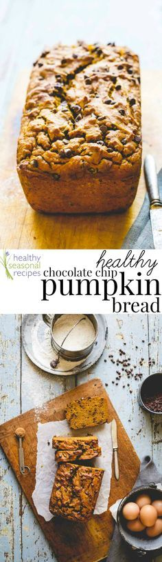 Healthy chocolate chip pumpkin bread - Healthy Seasonal Recipes:  This healthy chocolate chip pumpkin bread is earth-shatteringly good. It's made with whole-wheat flour, a whole can of pumpkin, maple syrup and mini chocolate chips. It's the latest additio