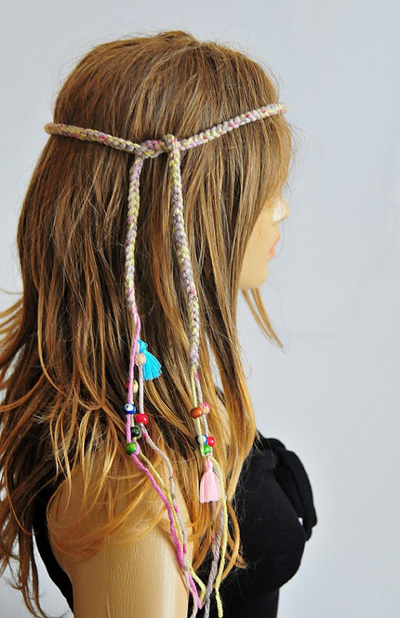 Boho Crochet Headband bohemian beaded Hippie tassel by selenayy