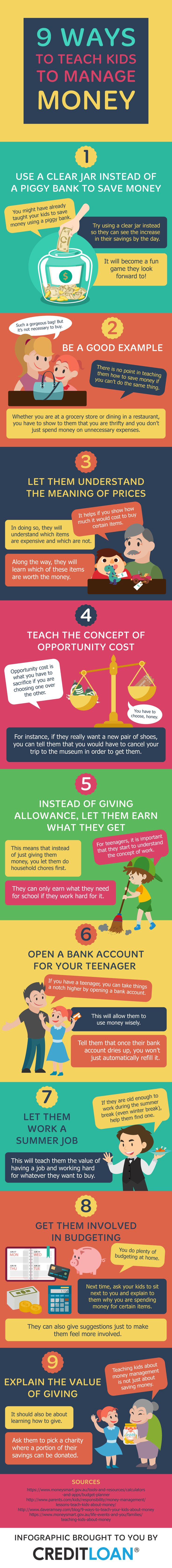 9 ways to help teach kids about money in positive, hands on examples.
