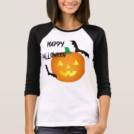 BATS AND PUMPKIN HALLOWEEN TEE SHIRT - click/tap to personalize and buy