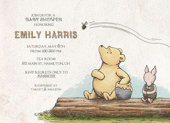 Classic Winnie The Pooh Baby Shower Invitation Free Shipping Baby Shower Baby Shower Invitations Watercolor Baby Shower Invitations