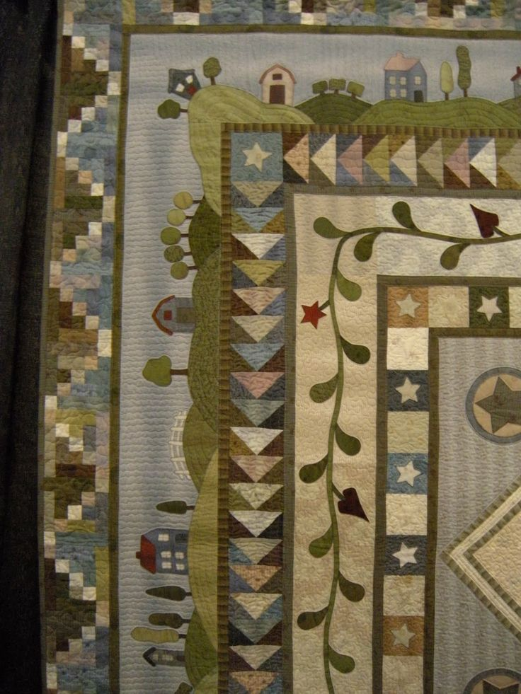 Fun with Barb: Showtime - I love the hills and houses that go around this quilt.  See other side as well as whole quilt. st