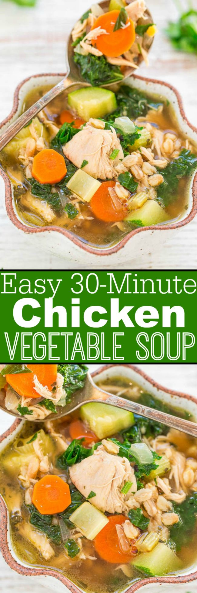 Easy 30-Minute Chicken Vegetable Soup - Extra veggies instead of noodles in this HEALTHY, easy chicken soup that's so FAST to make!! Hearty, filling, and satisfying! Perfect for weeknight dinners and chilly nights!!