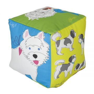"Fun pillow cube with all the different dogs on. 10""x10""x10"" cotton twill with faux-down insert. http://troskodesign.com/shop/throw-pillow-dog-cube-made-in-usa/"