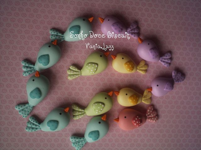 pastel colored polymer clay birds
