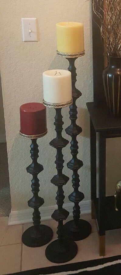 Floor Candle Holders made from Dollar Tree candle holders.