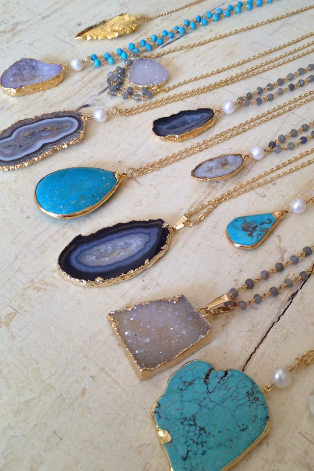 turquoise and druzy necklaces