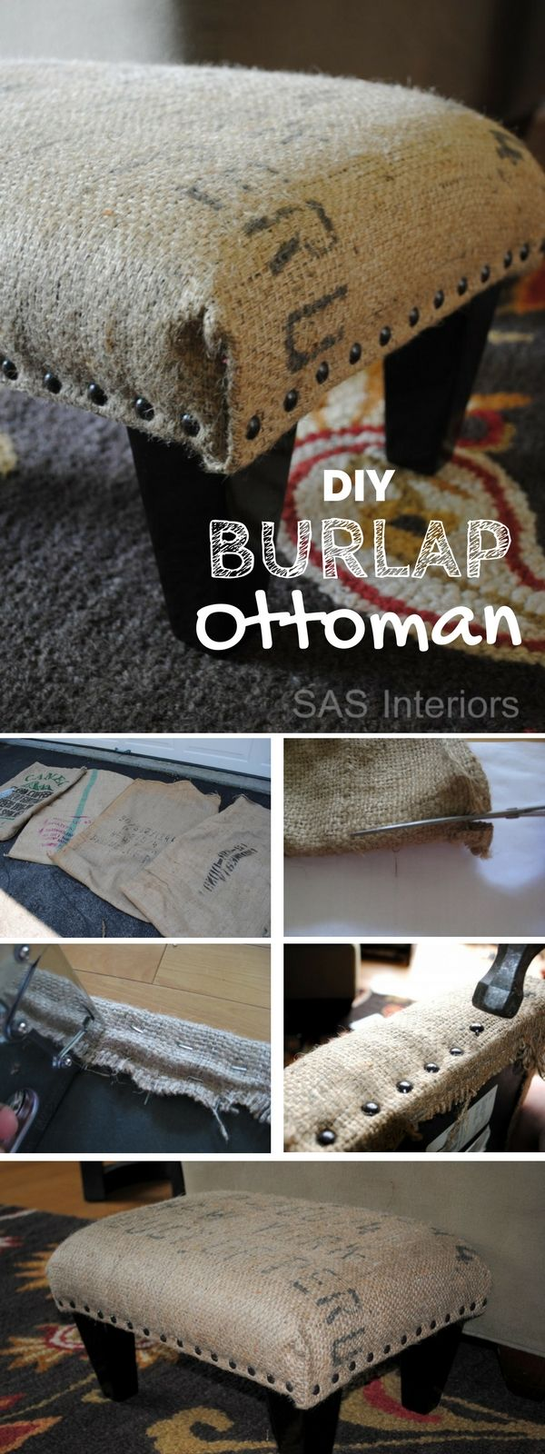 Check out this easy idea on how to make a #DIY ottoman using burlap coffee sack for living room #homedecor #rustic #budget #project @istandarddesign