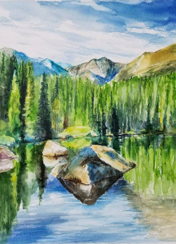 Rocky Mountain National Park Colorado Original Watercolor Painting