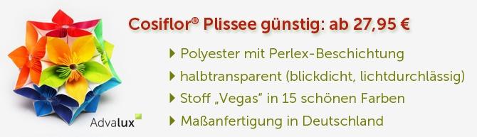Plissee günstig der optimale Sichtschutz und Sonnenschutz aus dem Berliner Onlineshop Advalux.de.  Das günstige Plissee oder Faltstore Einstiegsangebot: Hier bei Advalux! Ihr neues Plissee wird auf Maß gefertigt & Versandkostenfrei geliefert.  Plissee günstig für jeden Einsatz: 15 schöne Farben stehen zur Auswahl  Halbtransparent, Blickdicht, Lichtdurchlässig - Stoff aus waschbarem Pflegeleichten Polyester mit Perlex Beschichtung zum optimalen Sonnen- und Wärmeschutz. Mein Favorit: Vegas…