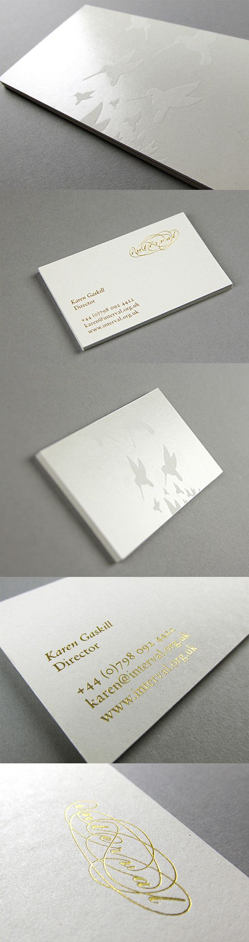 Elegant And Understated White And Gold Foil Business Card Design