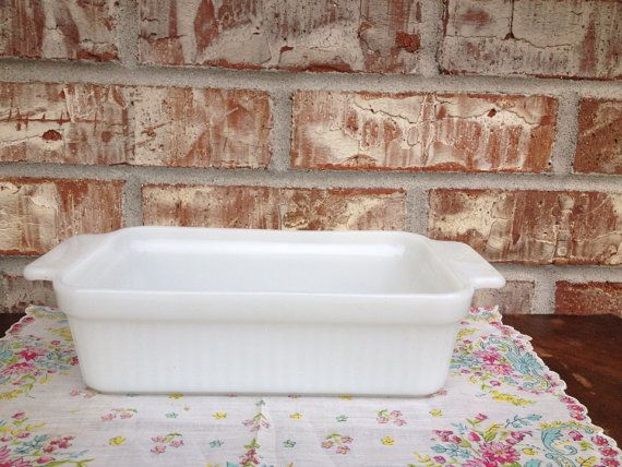Vintage Mid-Century Fire King Ribbed Loaf Pan - 1 Quart  on Etsy, $8.95