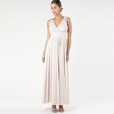 Light pink ruched mesh maxi dress