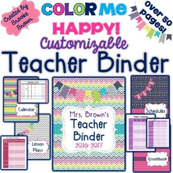 editable teacher binder 2018 2019 color me happy back to school