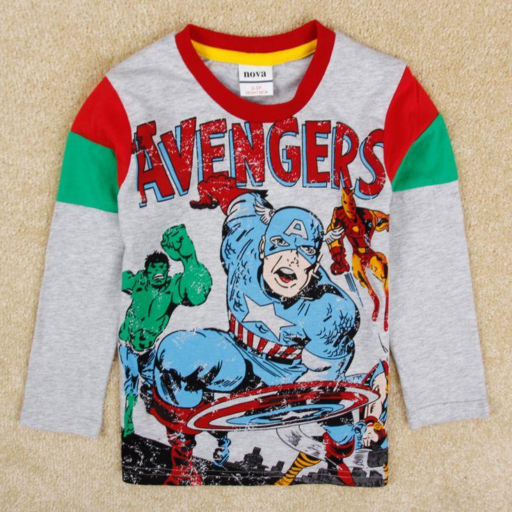 Мальчик майка детская одежда мультфильм футболка с длинным рукавом для мальчиков детей весна осень американский капитан Футболки для мальчиков