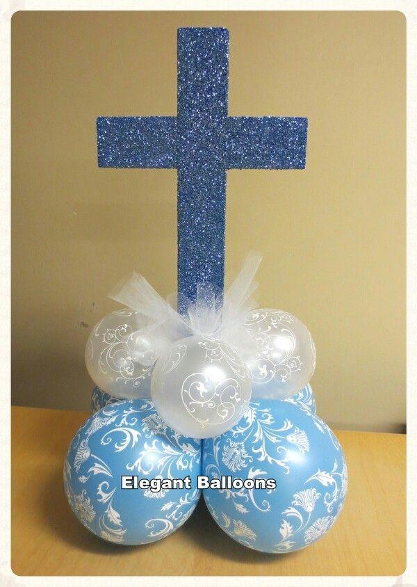 87 best kommunion und konfirmation images on pinterest for Balloon decoration for christening party