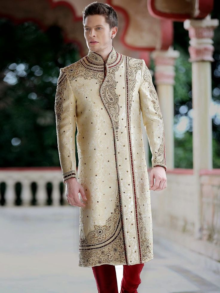 Emulate the latest trend and style by being Dress up in this Ethnic Sherwani on your special day