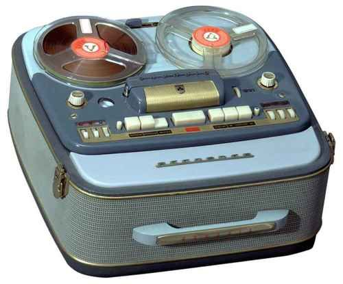 1957 Grundig TK830 Tape Recorder In 1957 the largest tape recorder factory in the world is created in Bayreuth, and produced the Portable Tape Recorder TK830 with two tape speeds, a 3-D sound button and a sound level indicator with a visual dial. Via Glad to say never saw it