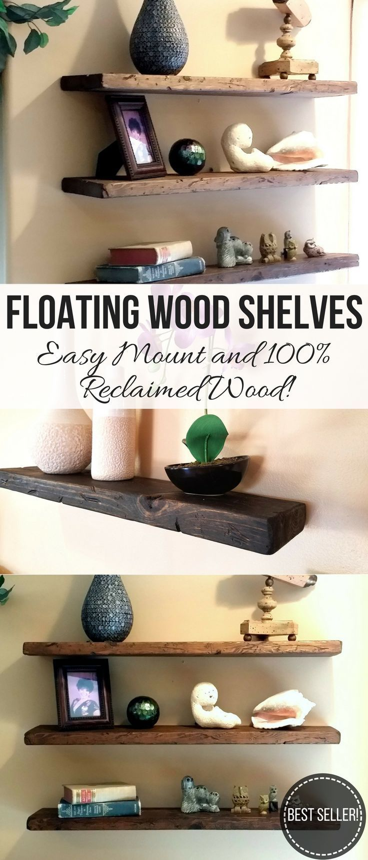 Only 19 These Reclaimed Wood Floating Shelves Will Add The Perfect Blend Of Rustic Charm And Contemporaty Minimalist Style To Yo Rustic Wood Floating Shelves