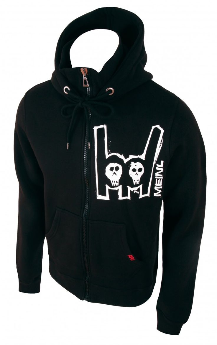 Meinl black hooded jacket with white Metal-Fork logo on left chest, Item No. M89