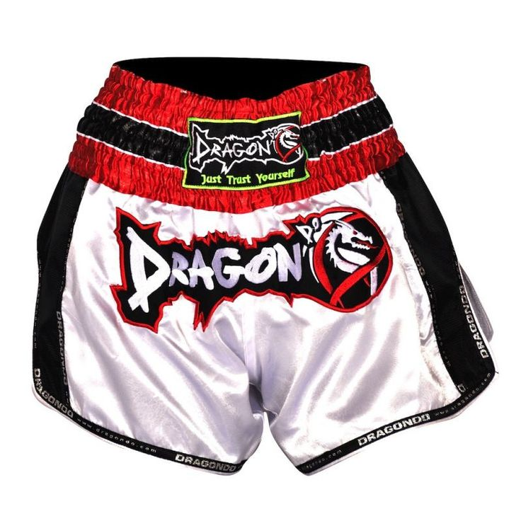 Dragon Do Muay Thai Fight Shorts - White/Red