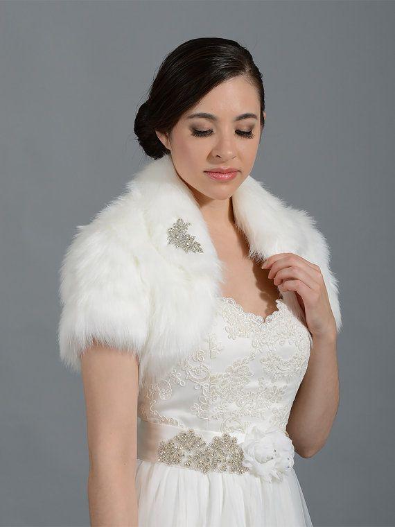 Ivory faux fur bolero faux fur shrug Wedding bolero wedding