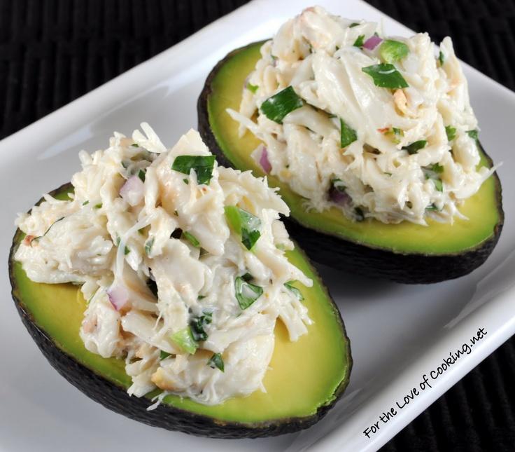 Cilantro and Lime Crab Salad in Avocado Halves: Cilantro Mayo, Cilantro Limes, Avocado Halv, Recipes, Limes Crabs, Eating, Cooking, Crab Salad, Crabs Salad