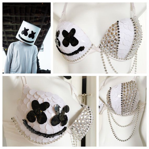 Check out this awesome Marshmello Rave Bra available on Etsy! #mellogang #marshmellobra #marshmello