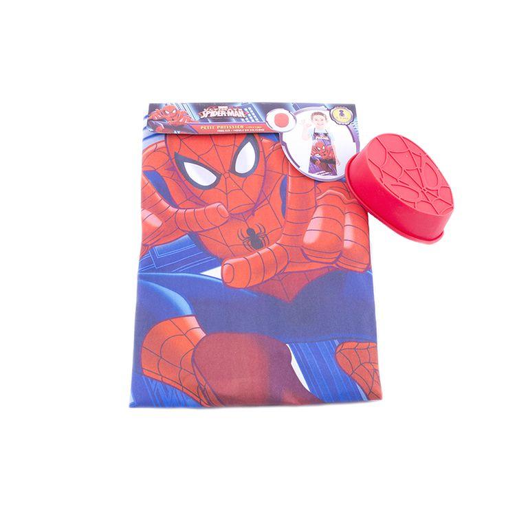 Protégé et à croquer pour cuisiner en famille avec ce tablier Spiderman  Les fans du super héros Spiderman vont adorer ce tablier de petit chef accompagné d'un moule à gâteaux en silicone décoré par une toile d'araignée.