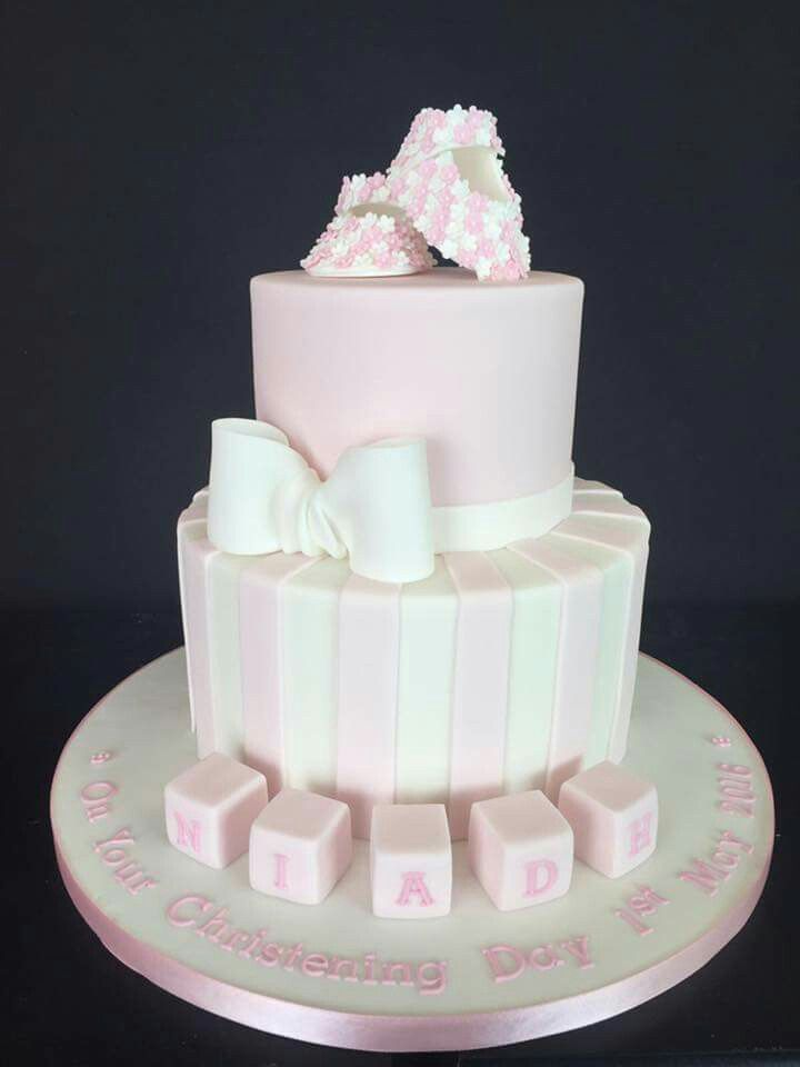 Such a pretty , pink, girly Christening cake  , do love making those little flowery shoes