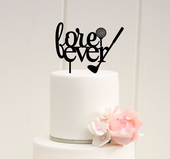 Fore Ever Golf Wedding Cake Topper  Custom by ThePinkOwlDesigns