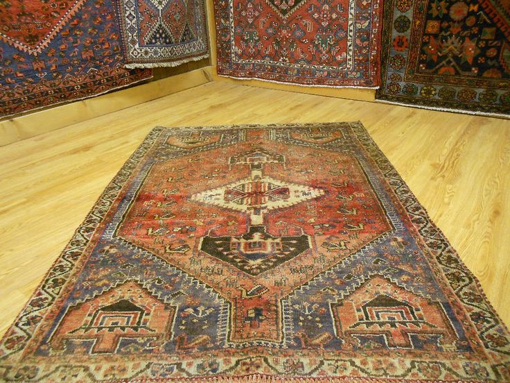 VEG DY ANTIQUE PERSIAN KAZAK SERAPI HERIZ QASHQAI YALAMEH HUNTING 3.9x5 RUG in Antiques | eBay