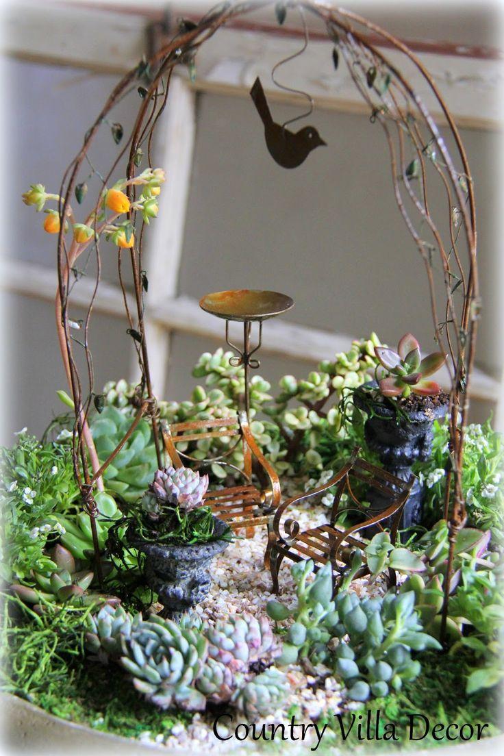 fairy garden decor | Succulent Mini-Gardens