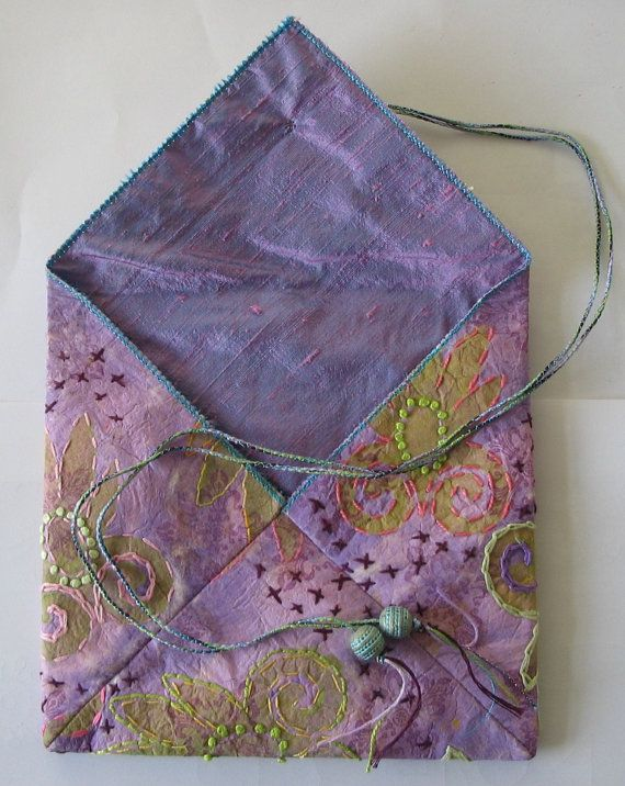 Digital Tutorial  Mixed MediaTextile Purse by Jill Amanda Kennedy Creative downloadable pdf Tutorial Embroidered Silk Paper Purse Project