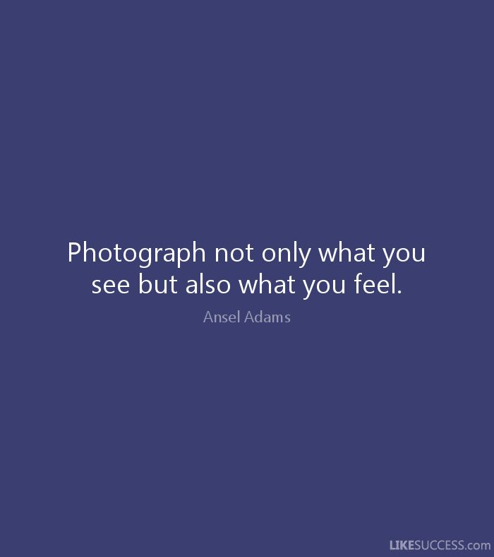Photograph not only what you see but also what you feel. - Ansel Adams