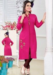 Party Wear Pink Rayon Embroidered Work Kurti