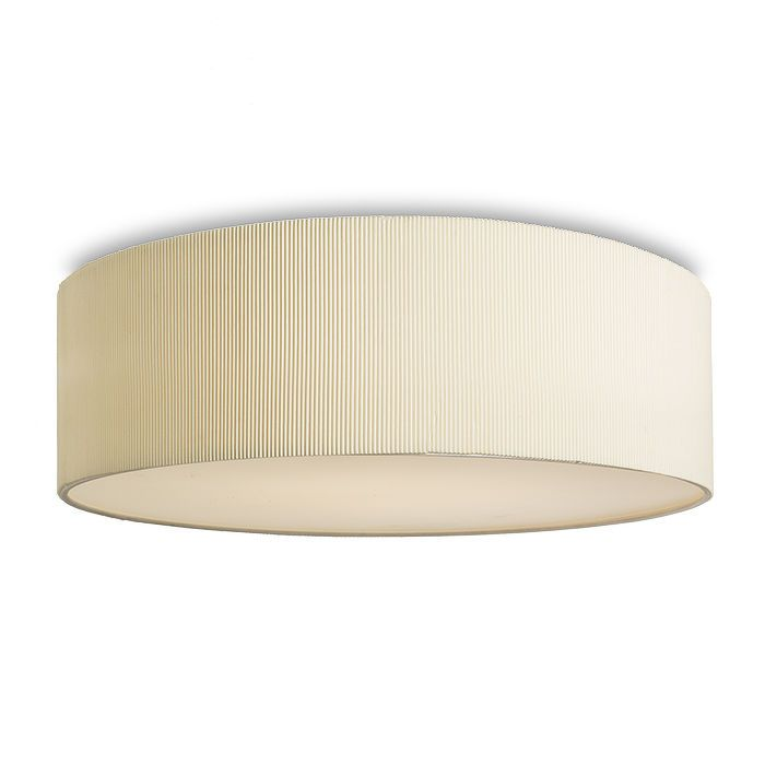 LALO CEILING | rendl light studio | Ceiling light with a finely pleated shade in a cream white. The light sources are covered by a frosted polycarbonate diffuser. #lamp #ceiling #interior #design