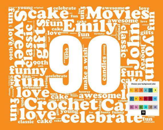 24 best birthday images on pinterest 90 birthday 90th birthday personalized 90th birthday gift word art 90th birthday ninety birthday 8 x 10 unique negle Gallery