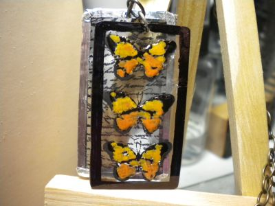 shrink plastic butterfly necklace