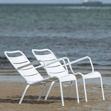 Set of 2 - Fermob Luxembourg Lounge Chair Replica - White - Milan Direct