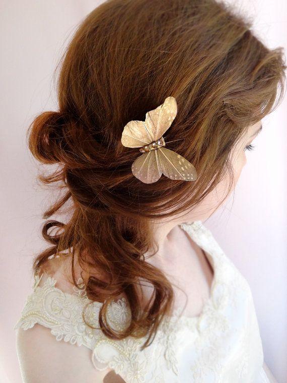 butterfly hair pin, bridal hair pin, womens hair c…Edit description