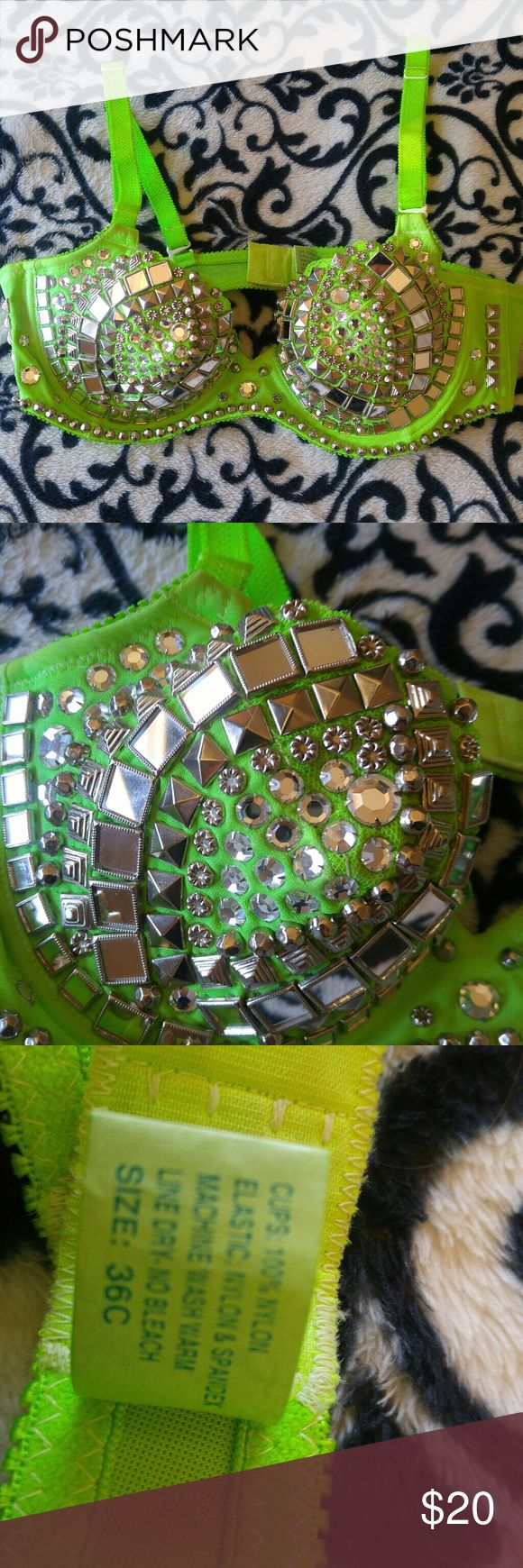 36 C Bling Bra Neon Green, bling, costume, lingerie, bra, top. Like new. Intimates & Sleepwear Bras